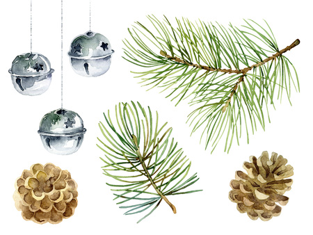 Christmas set of design elements with fir branches, balls and cones. Watercolor illustration