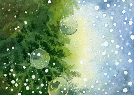 conifers: Christmas background with place for your text. Bright green fir tree branches decorated balls on light blue background. Watercolor illustration Stock Photo