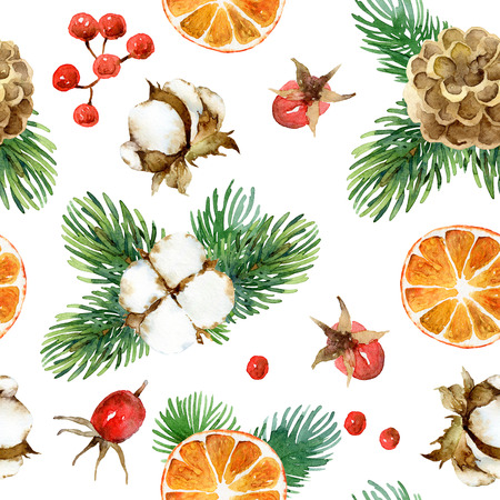 Holiday New Year bright seamless pattern with cotton flowers, fir-tree branches, cones and orange. Watercolor illustration