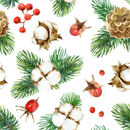 eglantine: Holiday New Year bright seamless pattern with cotton flowers, fir-tree branches, cones, and berries rosehip. Watercolor illustration Stock Photo