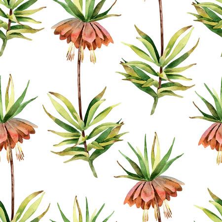 Fritillaria imperialis. Nahtloses Muster Standard-Bild - 81607429