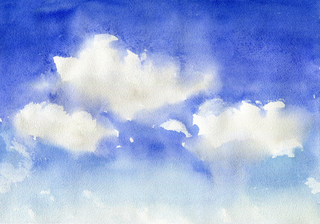 Watercolor blue sky with clouds Foto de archivo - 101811259