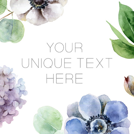 Composition with anemones and hydrangeas