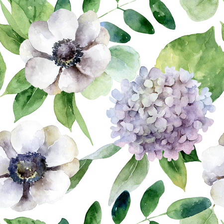 Seamless pattern with anemones and hydrangea Stock Photo