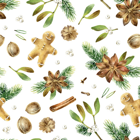 Christmas seamless watercolor pattern