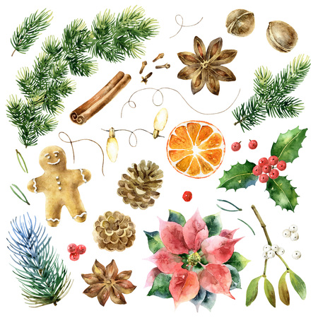 Big Christmas set of watercolor elements