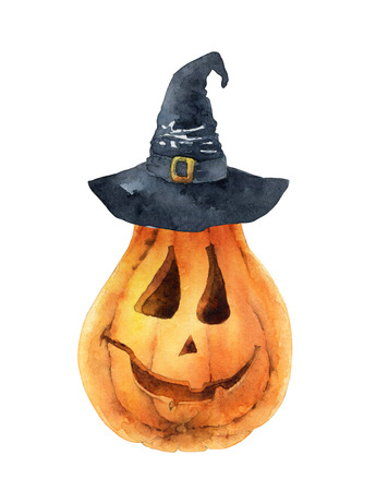 Bright orange pumpkin isolated on white background. Symbol of holiday Halloween