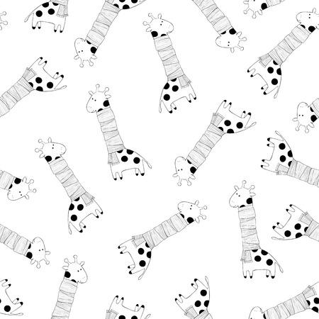 Monochrome seamless pattern with giraffes for children. Vector illustration