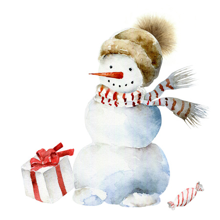 Watercolor snowman in scarf and hat. Christmas watercolor illustration