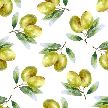 Watercolor seamless pattern with olives Banque d'images