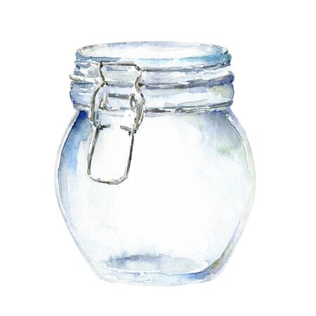 Watercolor glass jar with on white background