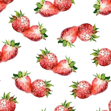 Watercolor seamless pattern with strawberries