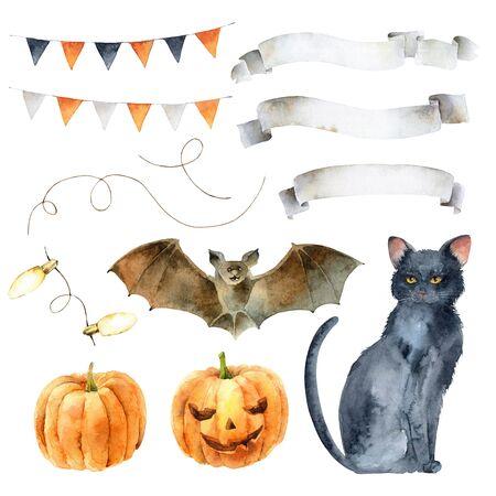 Watercolor set elements for Halloween 版權商用圖片