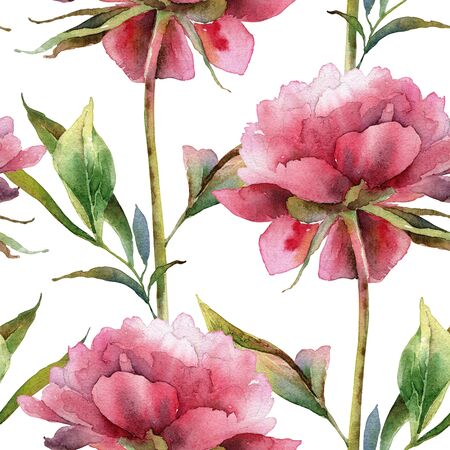 Watercolor seamless pattern with peonies