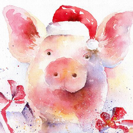 Piglet in Santa Claus hat. The symbol of the new 2019 Stok Fotoğraf