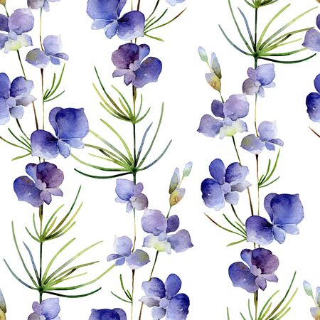 Seamless pattern with delphinium flower on white background