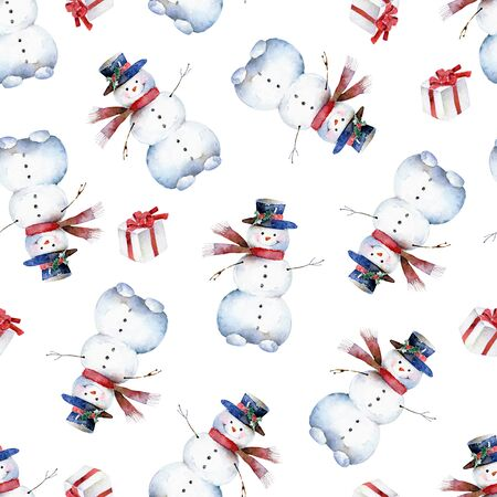 Seamless watercolor pattern with cheerful snowman Banque d'images