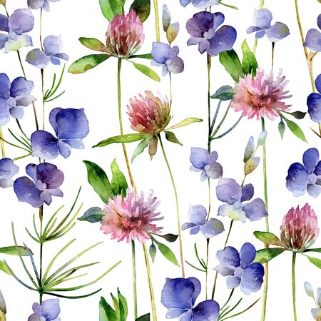 Watercolor seamless pattern with delphinium flowers and clover flowers