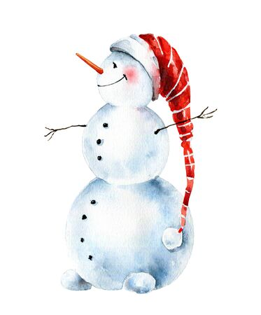 Watercolor christmas cheerful snowman in cap
