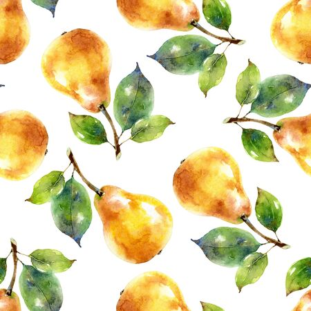 Watercolor seamless pattern with yellow pears