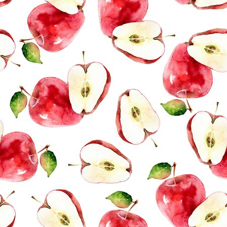 Watercolor seamless pattern with apples