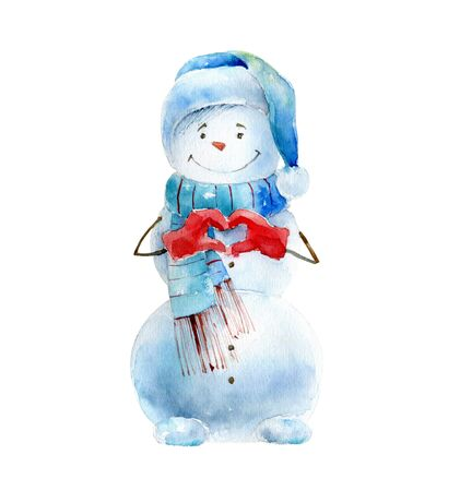 Watercolor cheerful snowman on white background