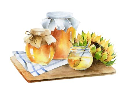 Watercolor composition of jars of honey and sunflower.
