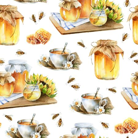 Watercolor delicious seamless pattern with honey