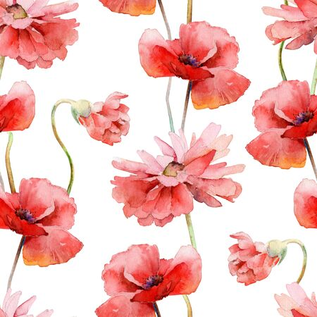 Watercolor seamless floral pattern with red poppies