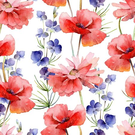 Watercolor seamless pattern with delphinium flowers and poppies