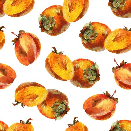 Seamless pattern with persimmon. Oil painting Banque d'images