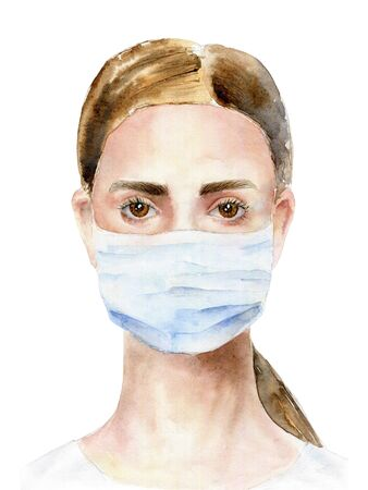 Girl in a medical mask. Watercolor illustration Banque d'images