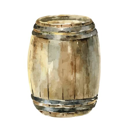 Watercolor wooden wine barrel on white background