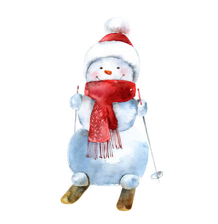 Watercolor cheerful snowman in hat and scarf goes skiing