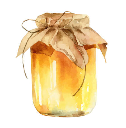 Watercolor jar of honey on white background Banque d'images - 155917514
