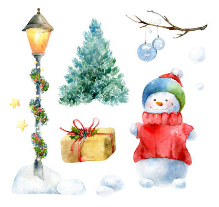 Watercolor Christmas set with snowman