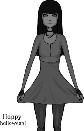 alone in the dark: Brunette girl. Grayscale illustration. Pretty girl in dress. Happy halloween!