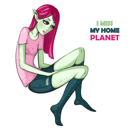 Cartoon Character sad alien. I miss my home planet Illustration