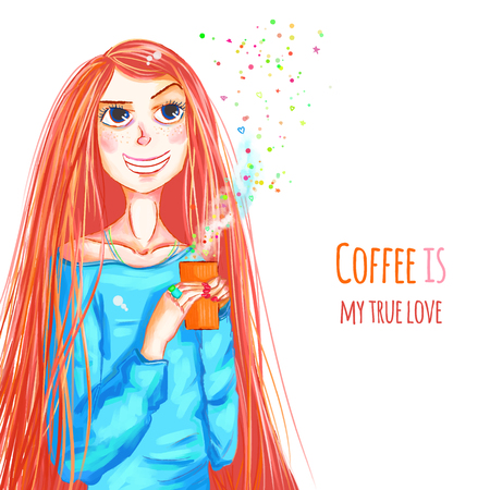 Funny girl holding coffee cup, cute girl, vector illustration