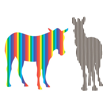 Two zebras with colored and black-white stripes