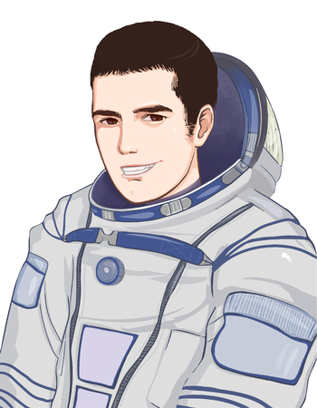 smilling: Smilling astronaut isolated on white background