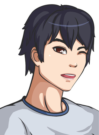 anime young: Vector illustration of a young guy in grey shirt. Anime boy Illustration
