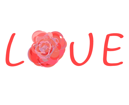 perfumery concept: The inscription Love with abstract pink rose on white background