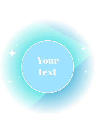 your text: Blue doodle with geometric simbols and bright stars; geometric layout with your text