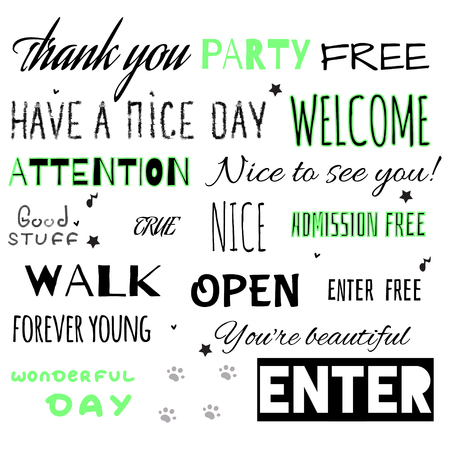 open type font: Stylized inscriptions for a party