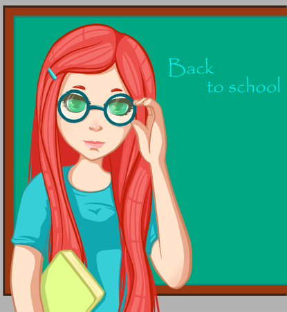 hi back: Red-haired girl with book. Cartoon character. Back to school. Illustration