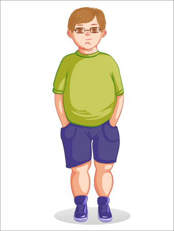Adorable fat boy with glasses Illustration