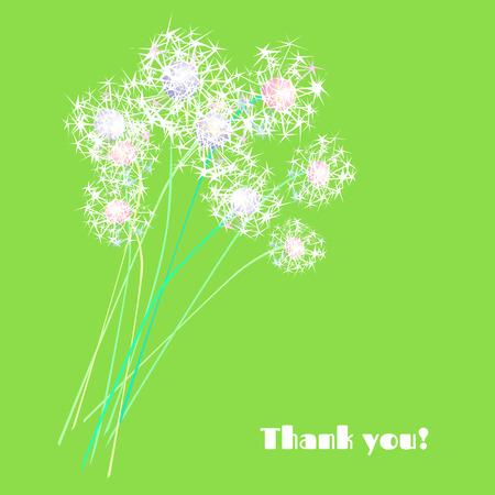 Bouquet of dandelions. Congralulations! Illustration