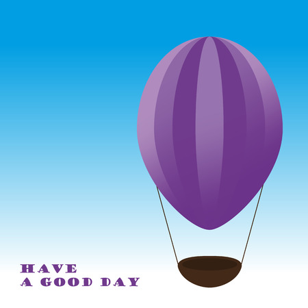 good day: Violet airballon.  Have a good day. Illustration