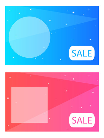 ison: Blue and pink doodles with geometric simbols and bright stars; geometric layout with your text Illustration